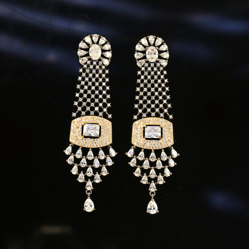 Clear Cubic Zircon Stones and Rhinestone Settings  earrings