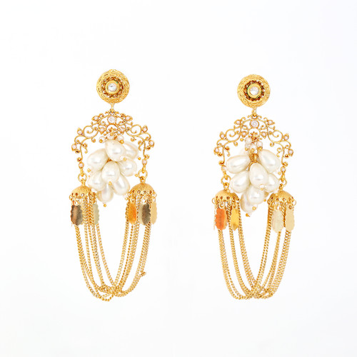 Gold plated Long Chain Pearl Alloy Bahubali Jhumka Earrings