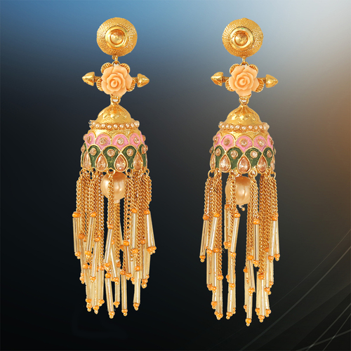 Meenakari Work and Beaded Chain Jhumki Earrings