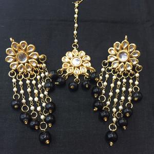 Black Beaded Drop Earrings and Tikka
