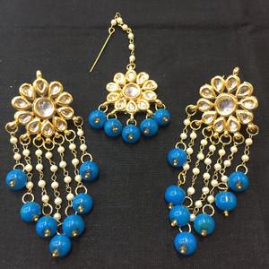 Aqua Blue Beaded Drop Earrings and Tikka
