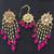 Dark pink Beaded Drop Earrings and Tikka
