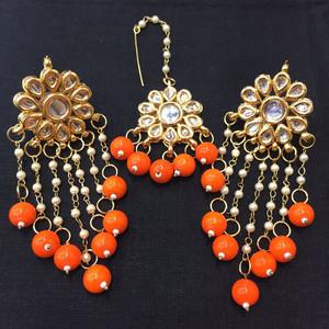 Orange Beaded Drop Earrings and Tikka