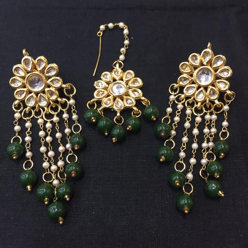 Green Beaded Drop Earrings and Tikka