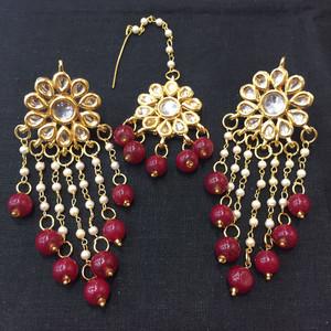 Red garnet Beaded Drop Earrings and Tikka