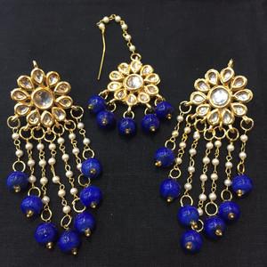 Navy Blue Beaded Drop Earrings and Tikka