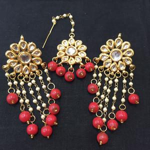 Coral Beaded Drop Earrings and Tikka