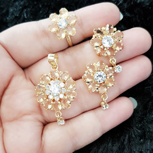 Marquise Cut 4 Piece Yellow Citrine Flower Pendant Set