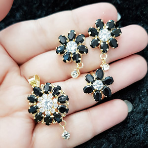 Marquise Cut 4 Piece Black Flower Pendant Set