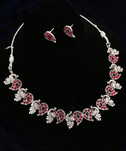 Swan Design Antique Silver Plated Choker Necklace