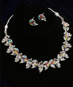 Multicolor Swan Design Antique Silver Plated Choker Necklace