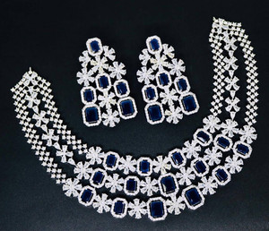 White Zircon Necklace with Blue CZ stones