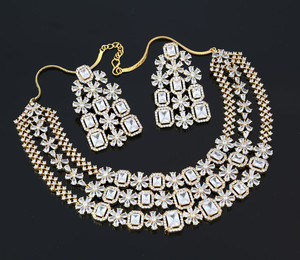 Gold Tone Zircon Necklace with White CZ Stones