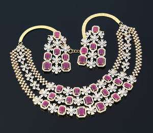 Gold Tone Zircon Necklace with Pink Ruby CZ Stones