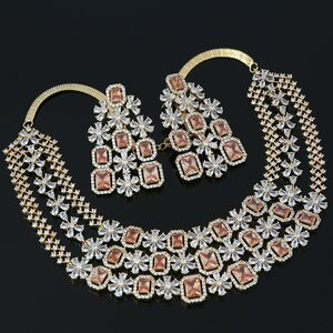 Gold Tone Zircon Necklace with Topaz CZ Stones