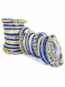 Light Weight Ornament Bangles in Blue Color