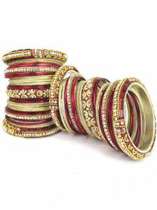 Light Weight Ornament Bangles in Maroon Color