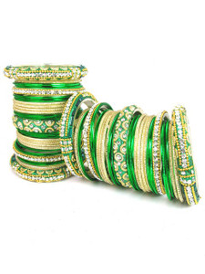 Light Weight Ornament Bangles in Green Color