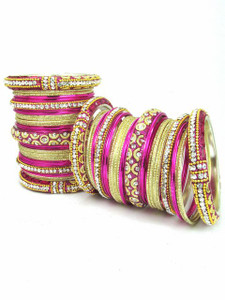 Handmade Ornament Bangles in Magenta Color