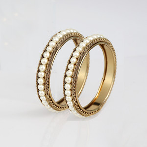Gold Plated Pearl Bangles Set
