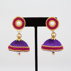 Purple Jhumka Earrings with Studs