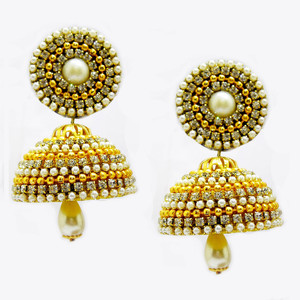 Handmade Silk Thread Jhumka Earrings with Studs
