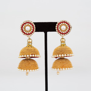 Multilayered golden bead Jhumkas with Studs