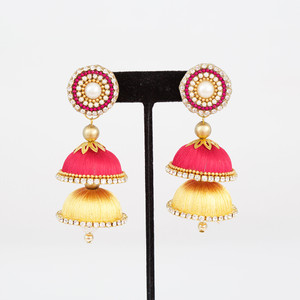 Multi Layered Clear Stone Jhumkas with Studs