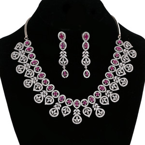 Rhodium Plated Pink Ruby Crystal Drop Zirconia Necklace