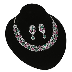 Multicolor Cubic Zirconia Rhodium Plated necklace