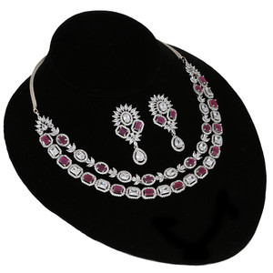 Pink and White Polki Diamonds necklace