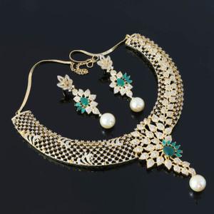 Green Emerald Collar Choker Necklace Set