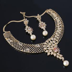 Golden Topaz Collar Choker Necklace Set