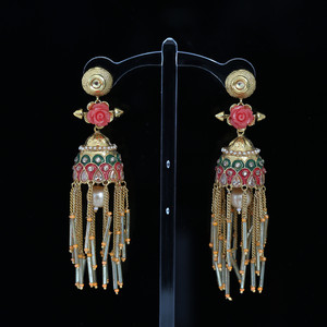 Coral Floral Design Meenakari Work earrings