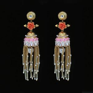 Orange Floral Design Meenakari Work earrings