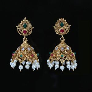 Multicolor Kundan Stones Jhumki Earrings
