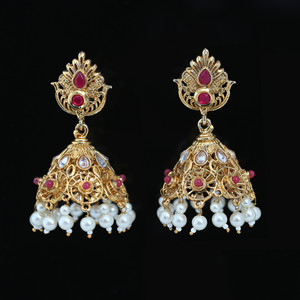 Ruby Kundan Stones Jhumki Earrings