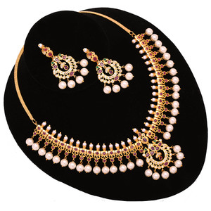 Ruby Kundan Faux Pearl Drops necklace