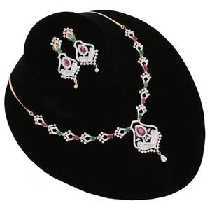 Multicolor CZ Stone Studded Beautiful AD Necklace