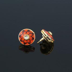 Gold Plated Orange Meenakari Work CZ Round Shape Stud Earrings