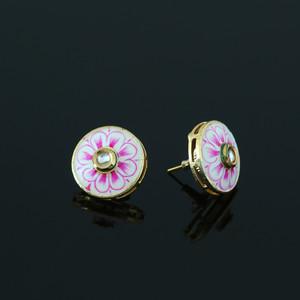 Pink Meenakari Work CZ Round Shape Stud Earrings
