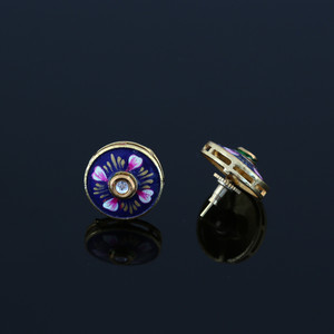 Gold Plated Blue Meenakari Work CZ Round Shape Stud Earrings
