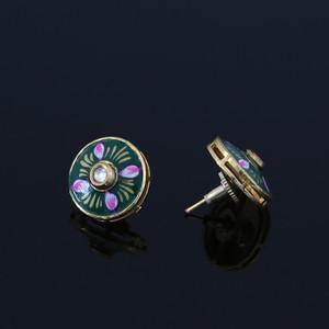 Gold Plated Green Meenakari Work CZ Round Shape Stud Earrings