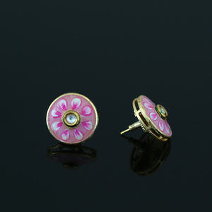 Gold Plated Pink Meenakari Work CZ Round Shape Daily Wear Stud Earrings