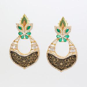 Kundan Brass Emerald Green Dangler Earrings