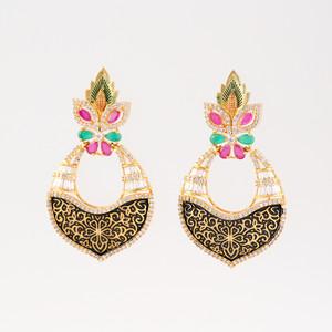 Kundan Brass Multicolor Dangler Earrings