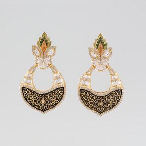 Kundan Brass Clear Dangler Earrings