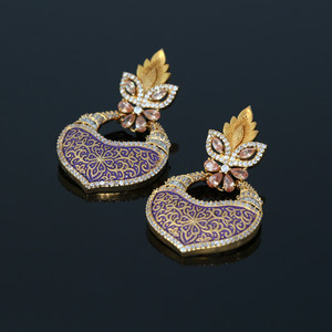 Purple Meenakari Floral Design Kundan Brass Dangler Earrings