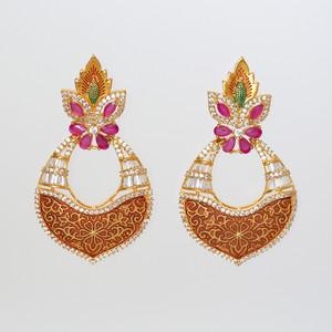 Meenakari Brown Floral Design Kundan Brass Dangle Earrings