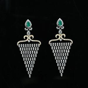 Emerald and Clear Rhinestone studded earrings